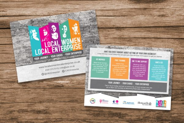 Local Enterprise Local Women flyers on wood