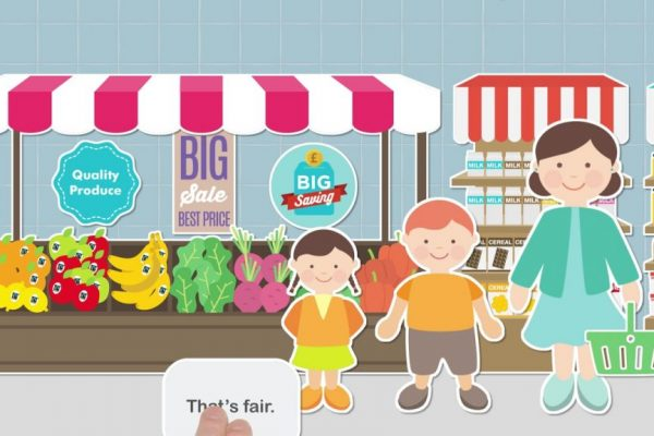 Animated children stood in front of market stall