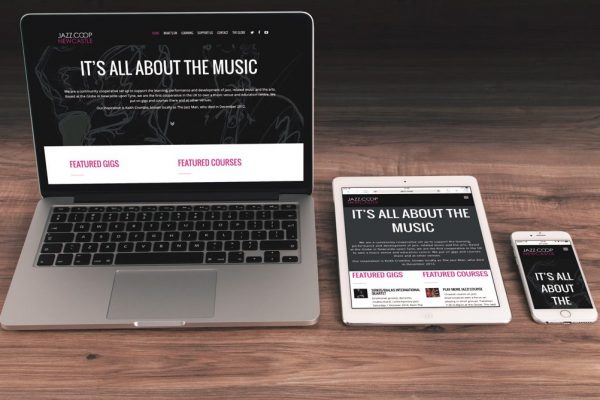 Jazz Coop website on laptop, tablet and mobile