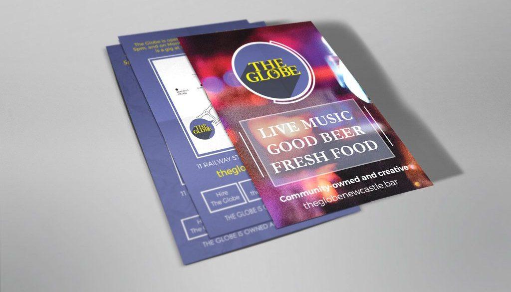 The Globe general flyer - Live music, Good Beer, Fresh food