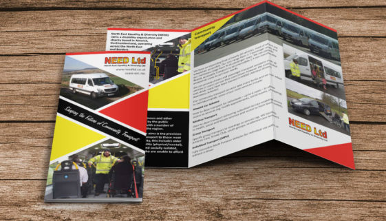 NEED Ltd leaflet design mockup